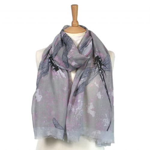 Large Dragonfly Scarf in Lilac
